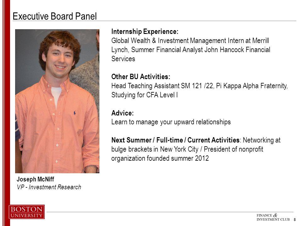 Executive Board Panel Internship Experience: