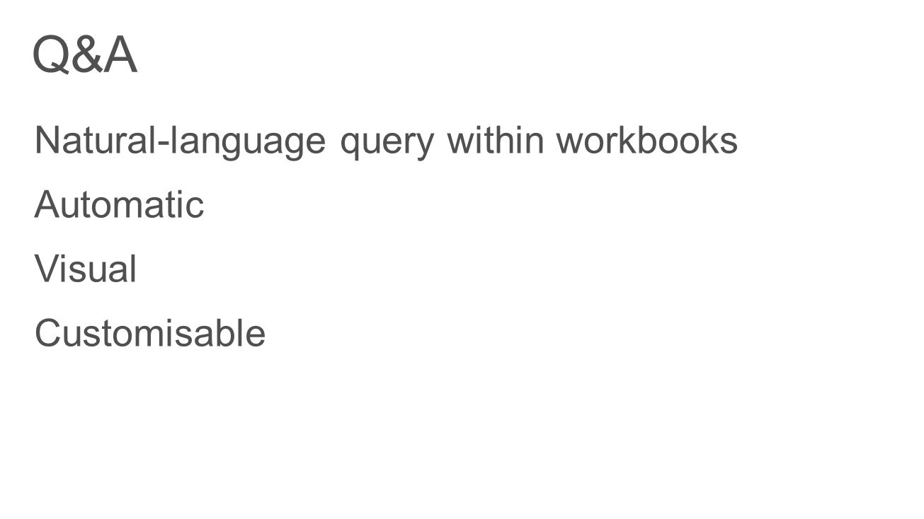 Q&A Natural-language query within workbooks Automatic Visual