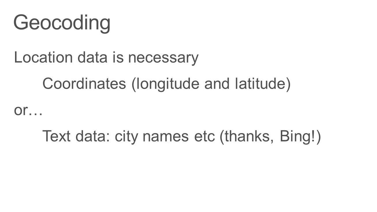 Geocoding Location data is necessary