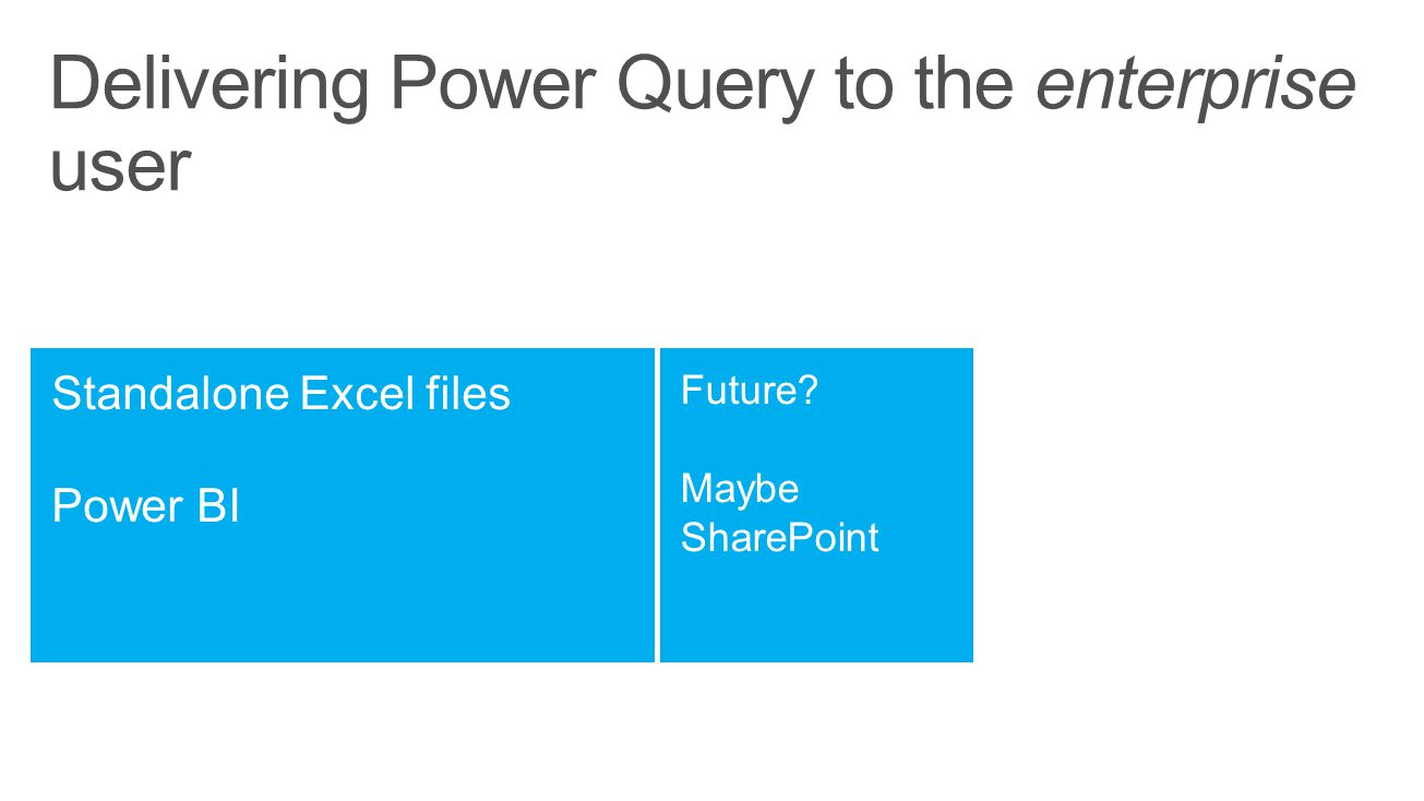 Delivering Power Query to the enterprise user