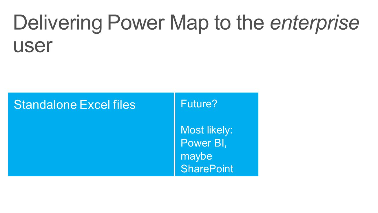 Delivering Power Map to the enterprise user