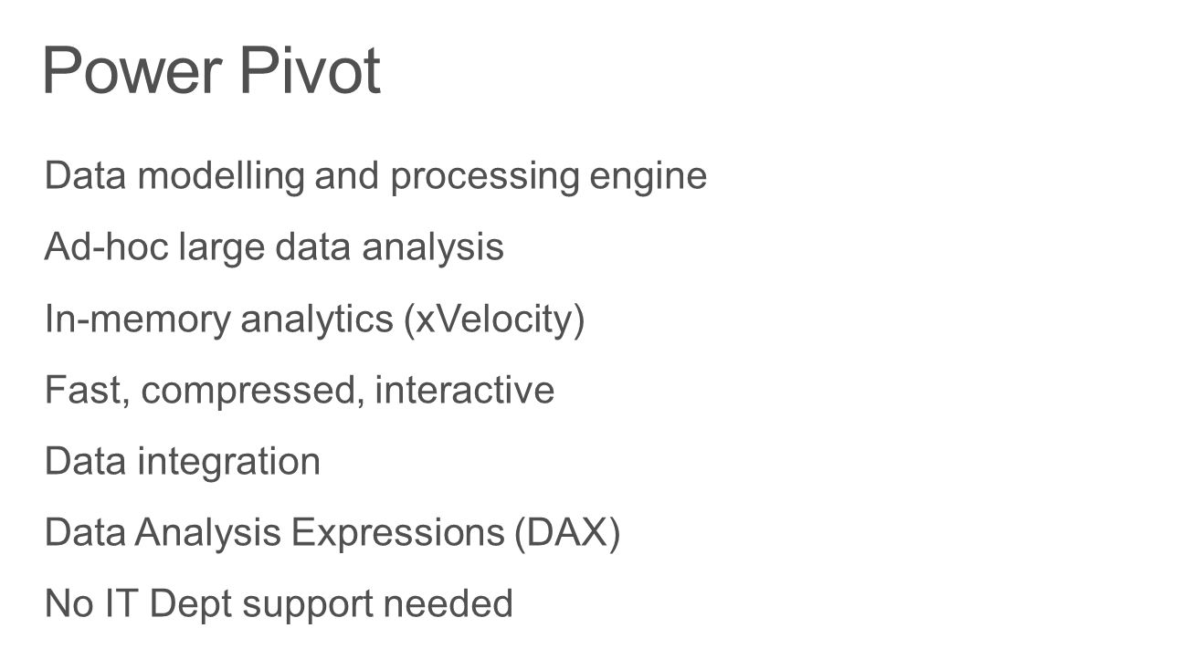 Power Pivot Data modelling and processing engine