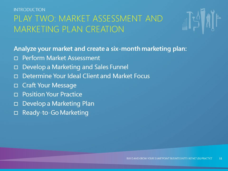 Play Two: Market Assessment and Marketing Plan Creation