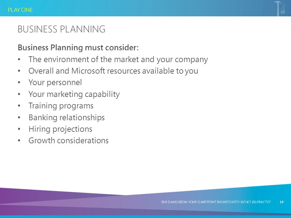 Business Planning Business Planning must consider: