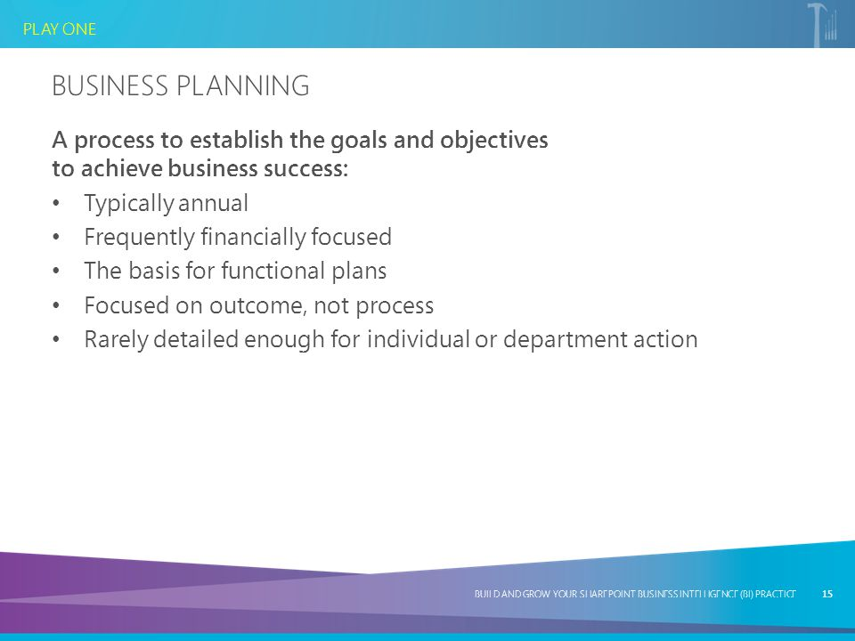 Business Planning A process to establish the goals and objectives to achieve business success: Typically annual.