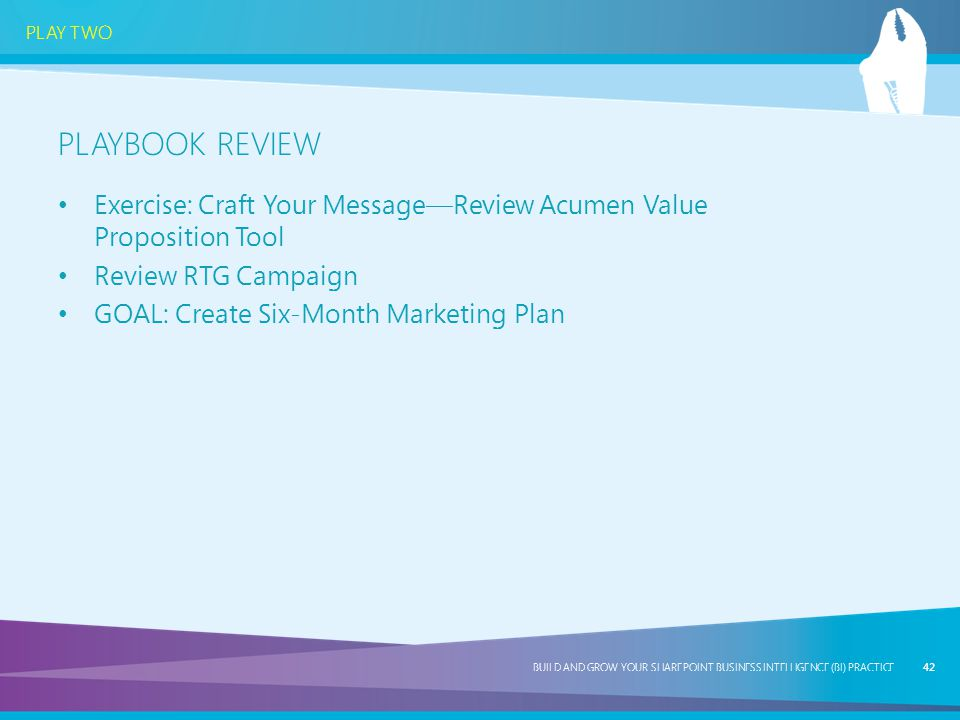 Playbook review Exercise: Craft Your Message—Review Acumen Value Proposition Tool. Review RTG Campaign.