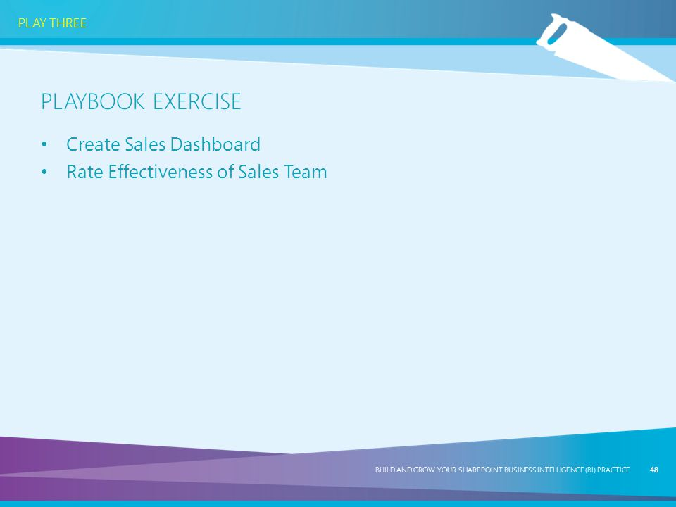 Playbook exercise Create Sales Dashboard