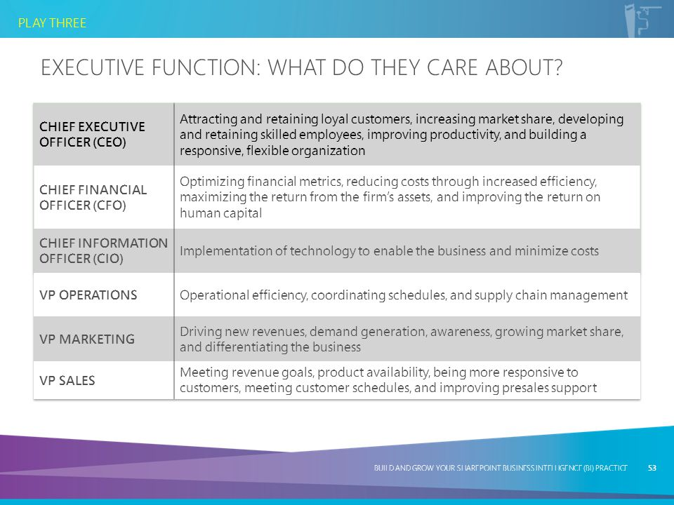 Executive Function: What Do They Care About