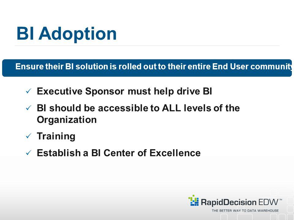 BI Adoption Executive Sponsor must help drive BI