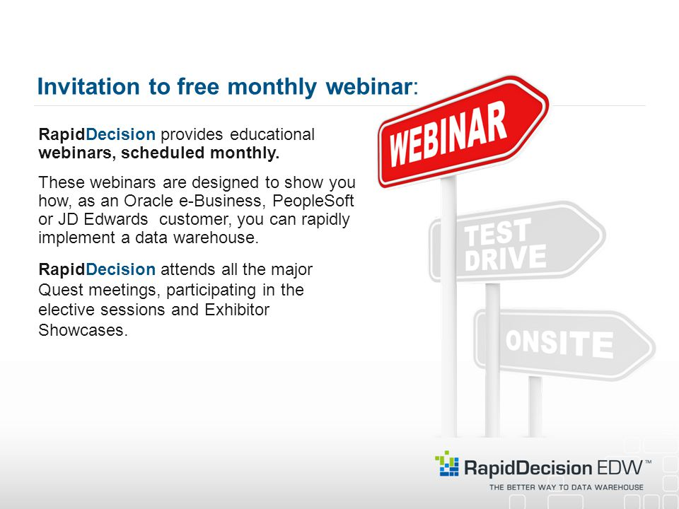 Invitation to free monthly webinar: