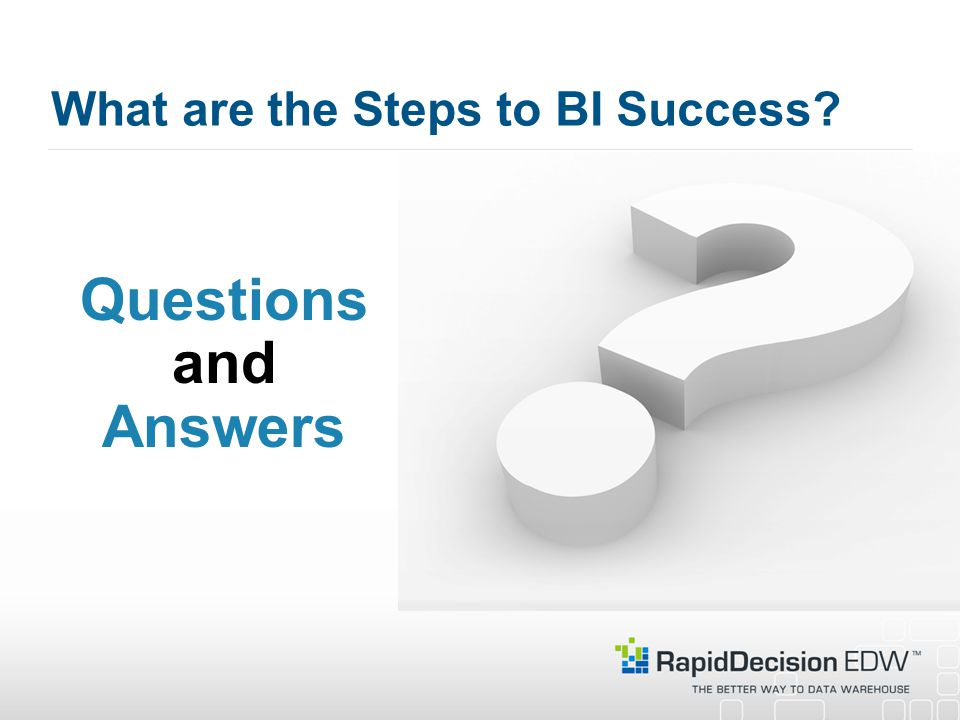 What are the Steps to BI Success