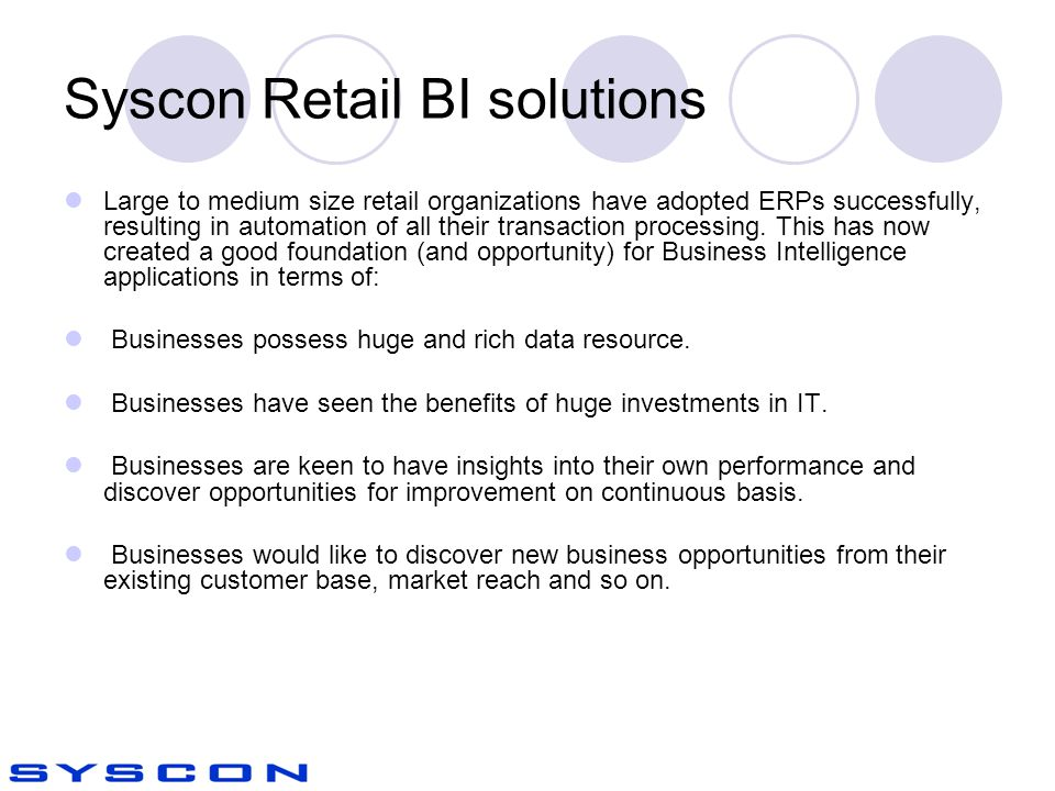 Syscon Retail BI solutions