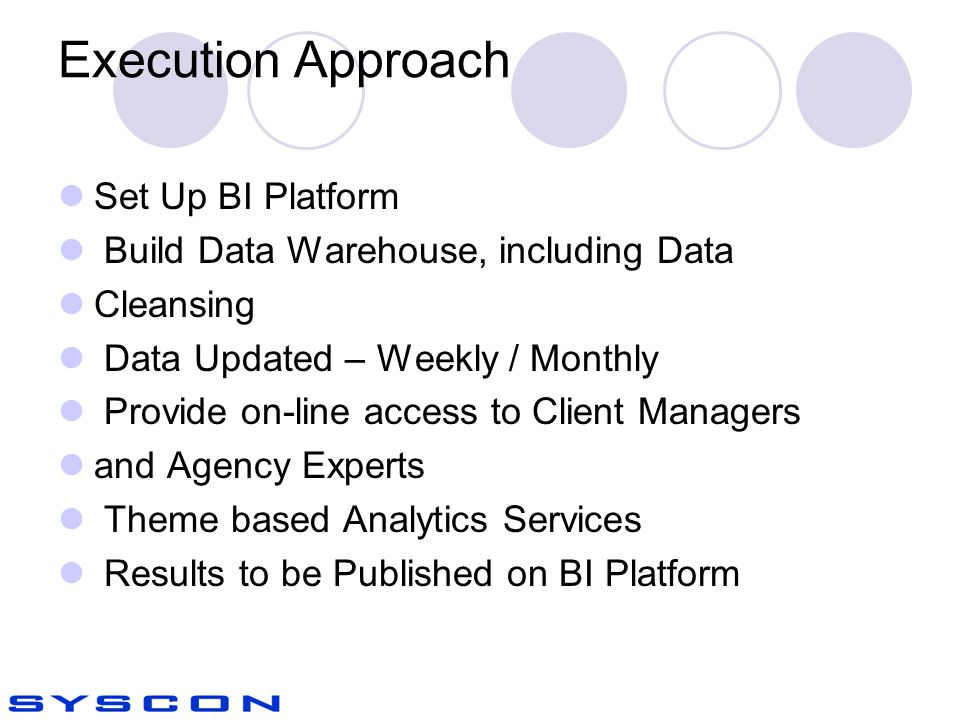 Execution Approach Set Up BI Platform