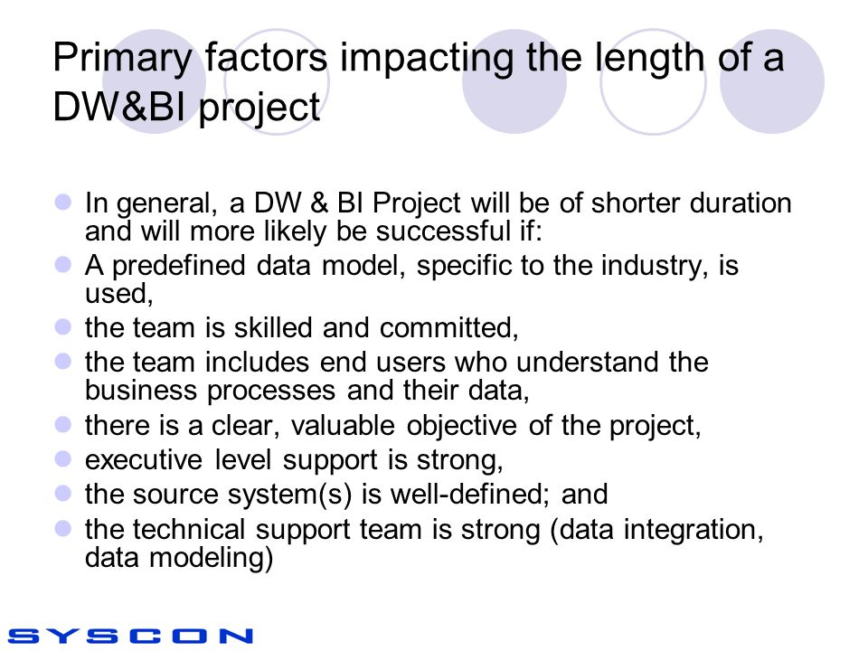 Primary factors impacting the length of a DW&BI project