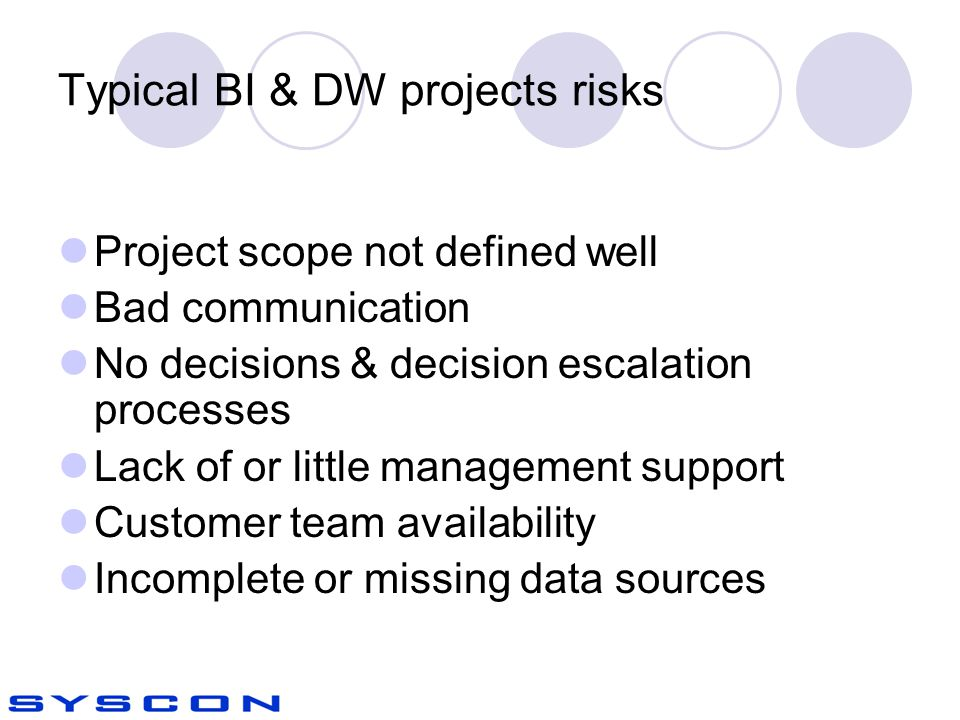 Typical BI & DW projects risks