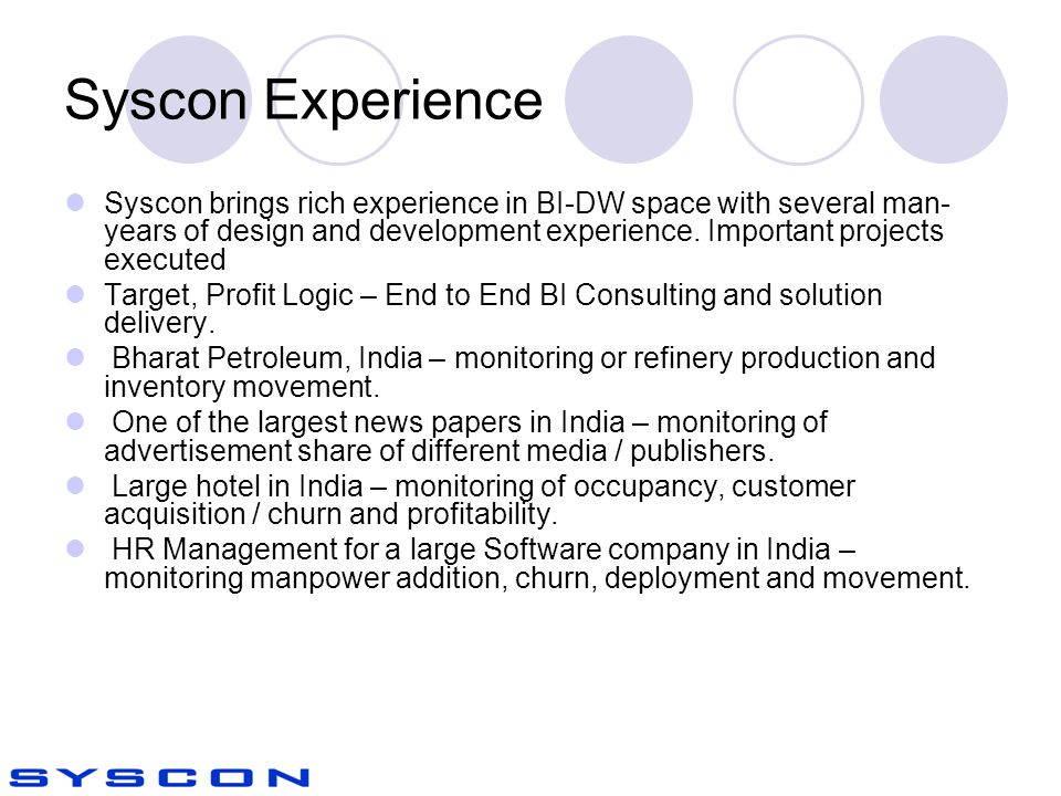 Syscon Experience