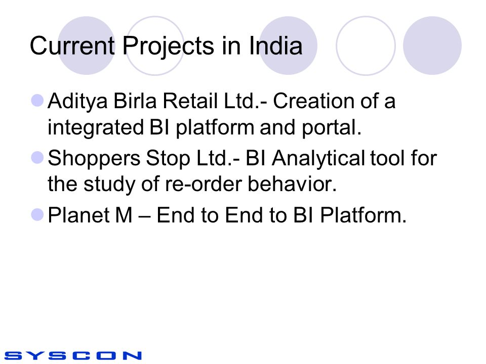 Current Projects in India