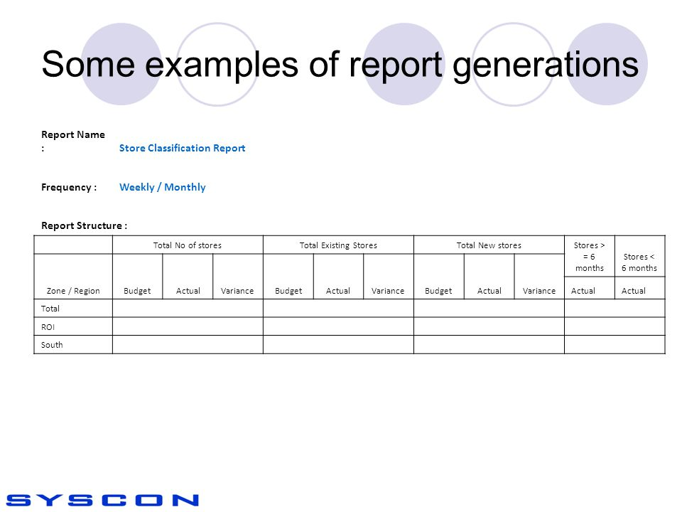 Some examples of report generations