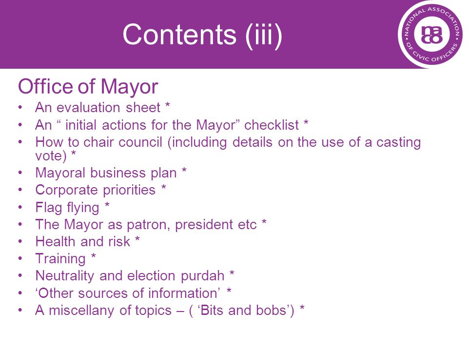 Contents (iii) Office of Mayor An evaluation sheet *