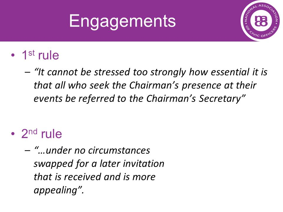 Engagements 1st rule 2nd rule