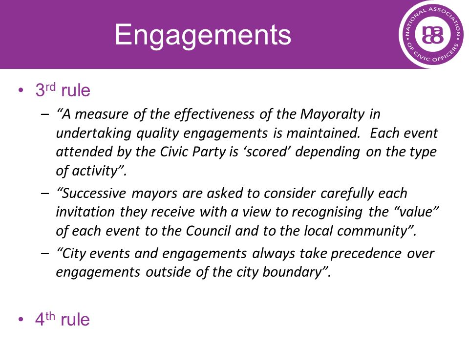Engagements 3rd rule 4th rule