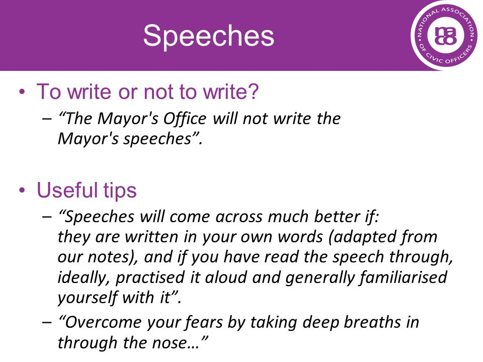 Speeches To write or not to write Useful tips