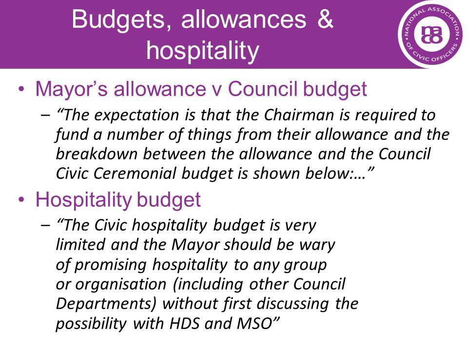 Budgets, allowances & hospitality