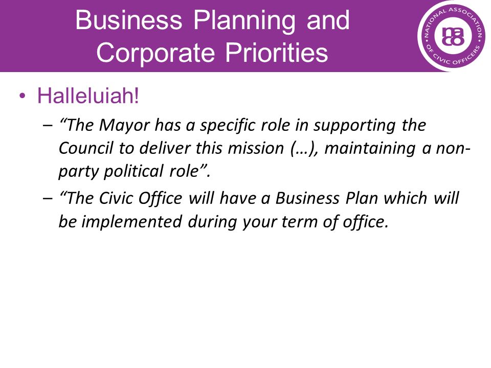 Business Planning and Corporate Priorities