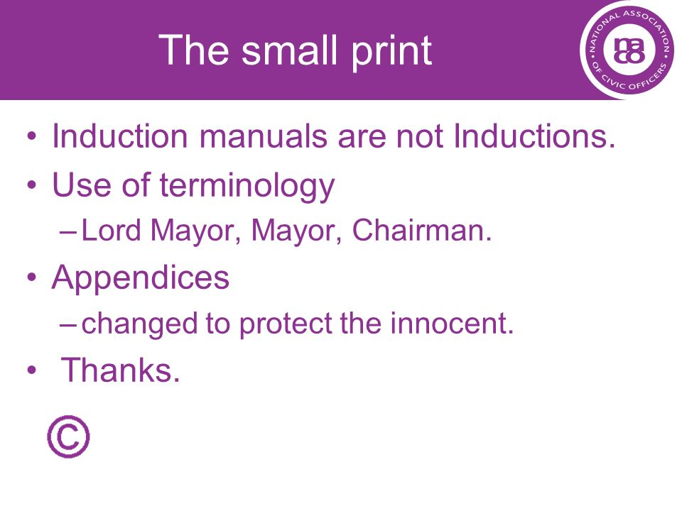 The small print Induction manuals are not Inductions.