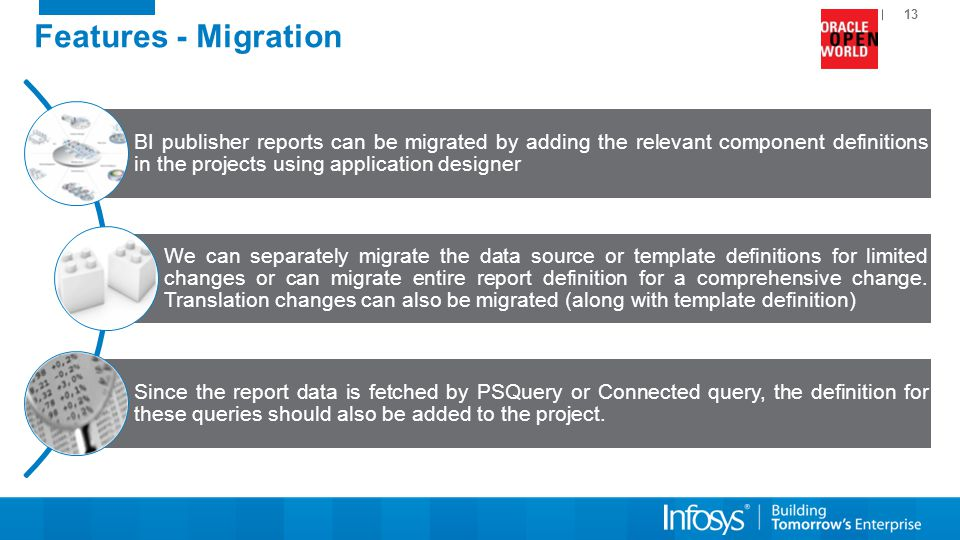 Features - Migration BI publisher reports can be migrated by adding the relevant component definitions in the projects using application designer.