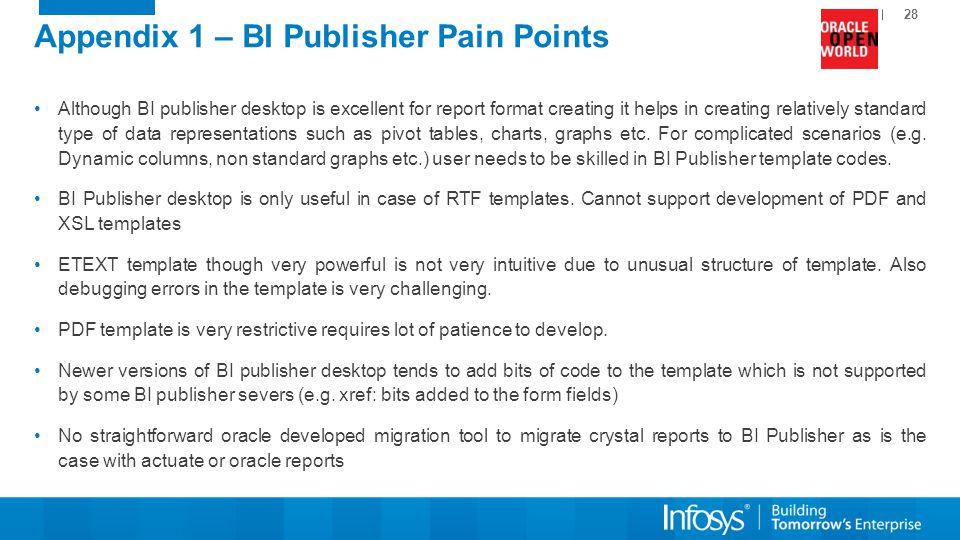 Appendix 1 – BI Publisher Pain Points