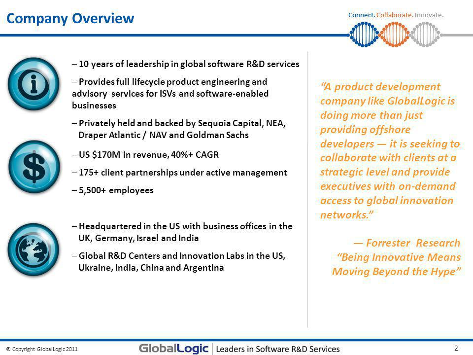 Company Overview 10 years of leadership in global software R&D services.