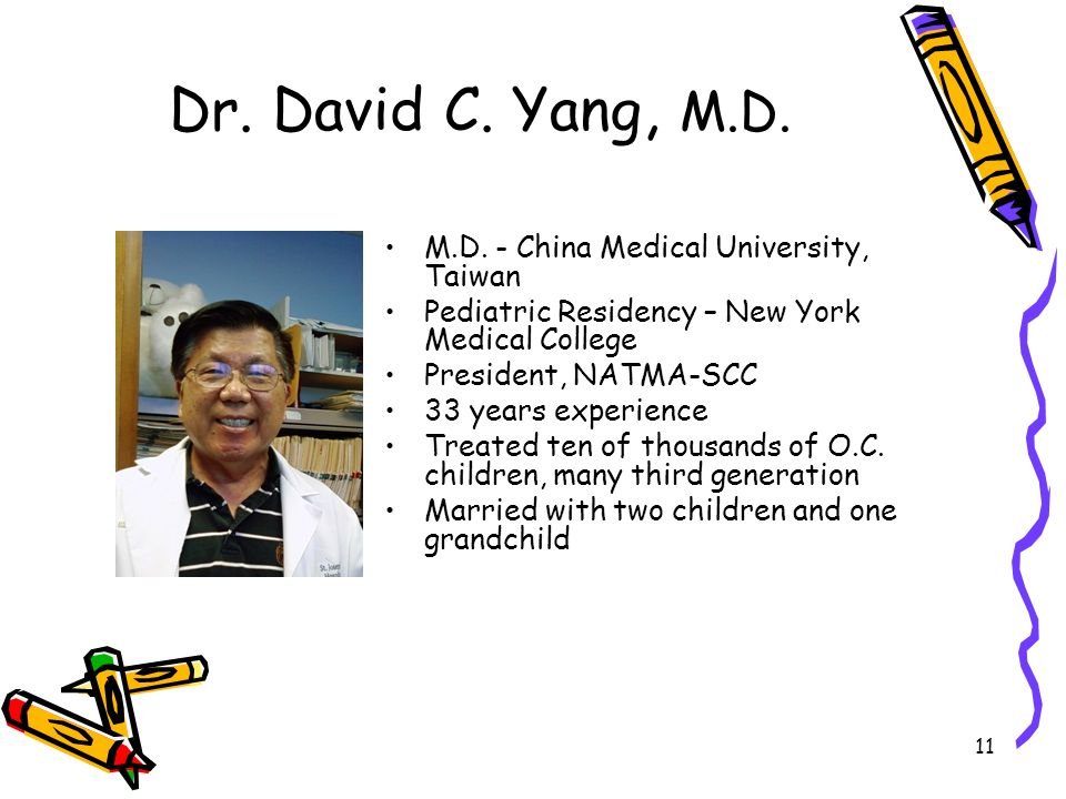 Dr. David C. Yang, M.D. M.D. - China Medical University, Taiwan