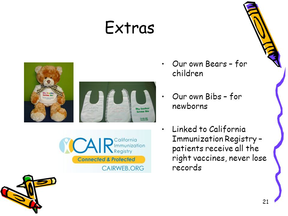 Extras Our own Bears – for children Our own Bibs – for newborns