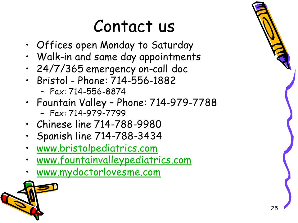 Contact us Offices open Monday to Saturday