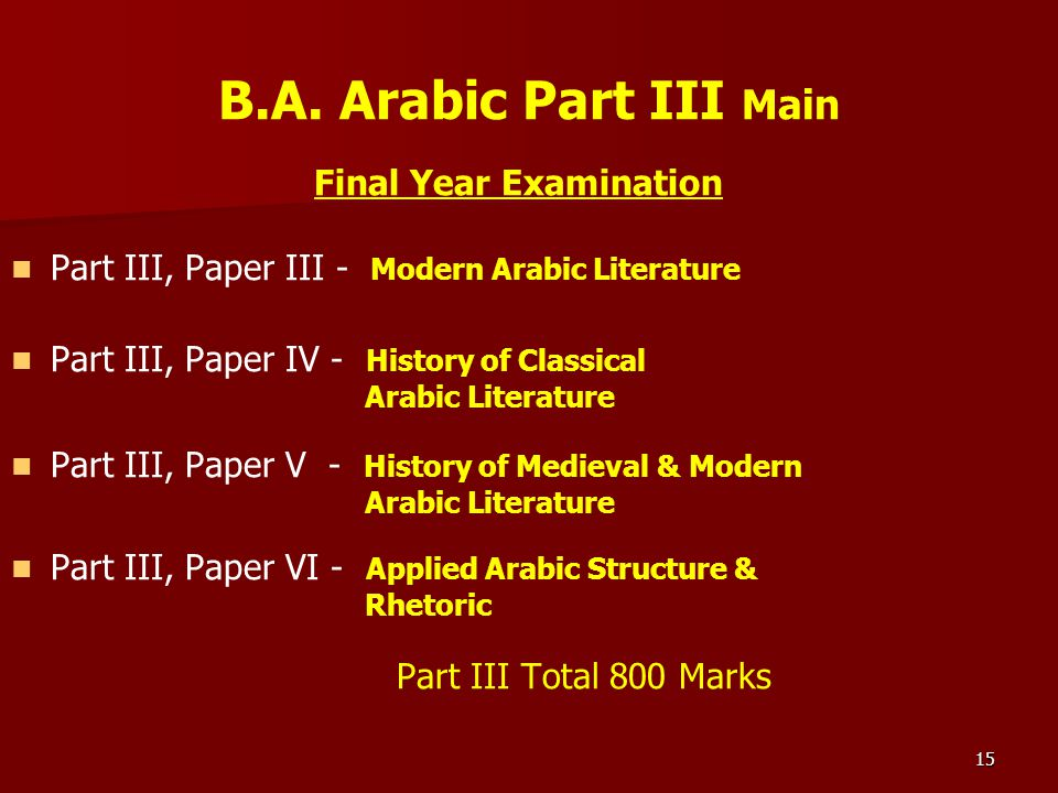 Final Year Examination