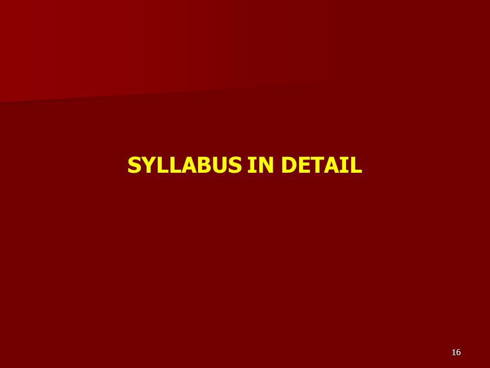 SYLLABUS IN DETAIL