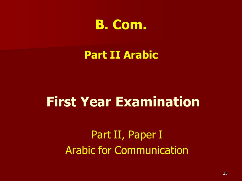 B. Com. Part II Arabic First Year Examination