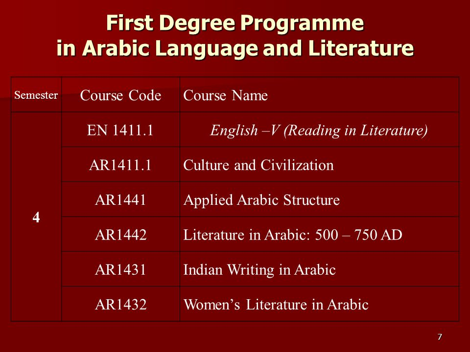 First Degree Programme in Arabic Language and Literature