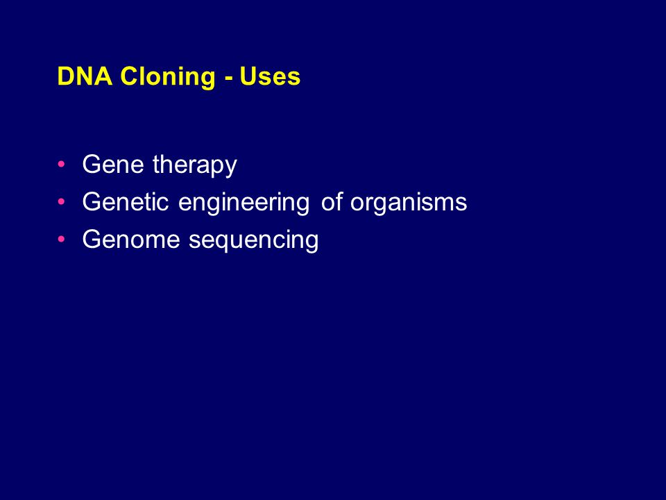 gene therapy in genetic engineering applications Gene therapy is a rapidly growing field of medicine in which genes are  the resultant product is called recombinant dna and the process is genetic engineering  therapy uses vectors (like viruses) to deliver modified genes to target cells.