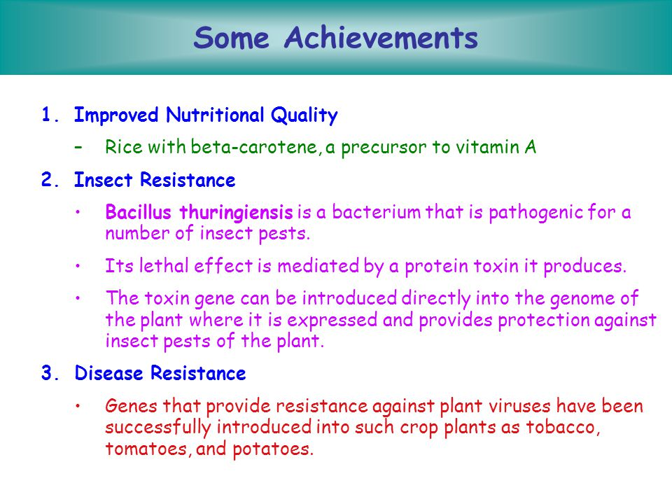 Some Achievements Improved Nutritional Quality