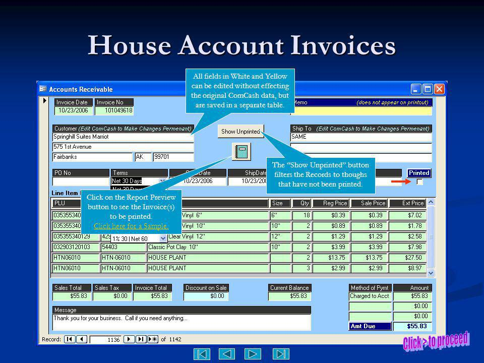 House Account Invoices