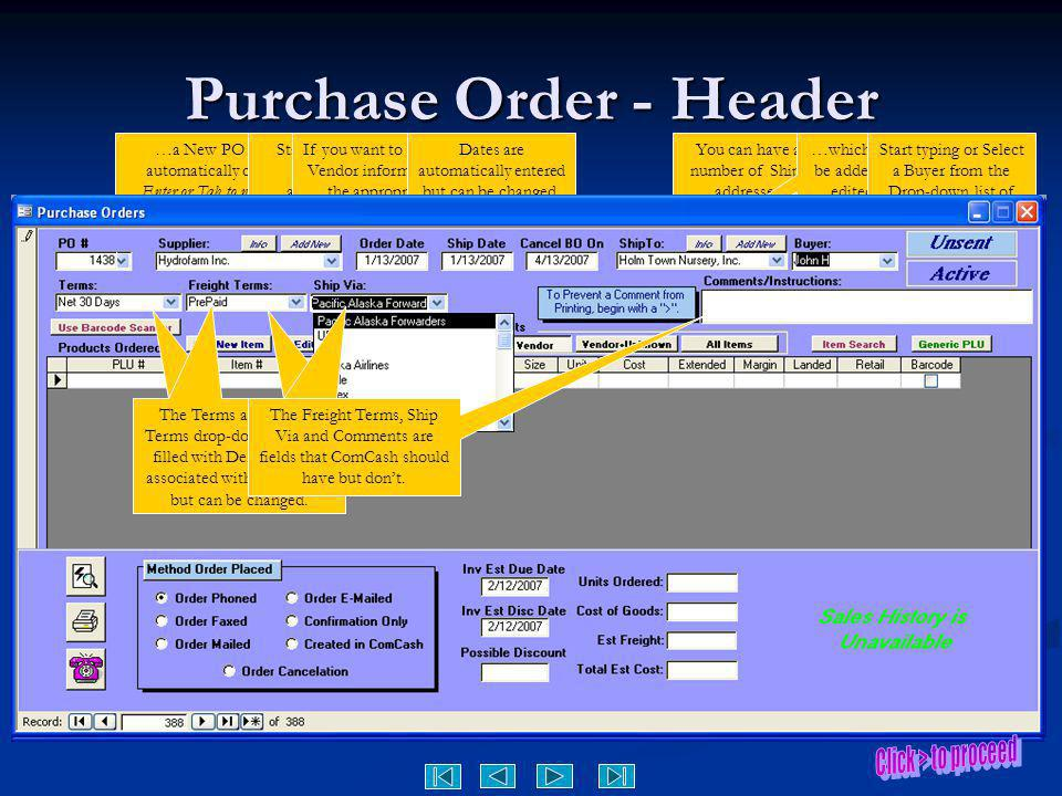 Purchase Order - Header