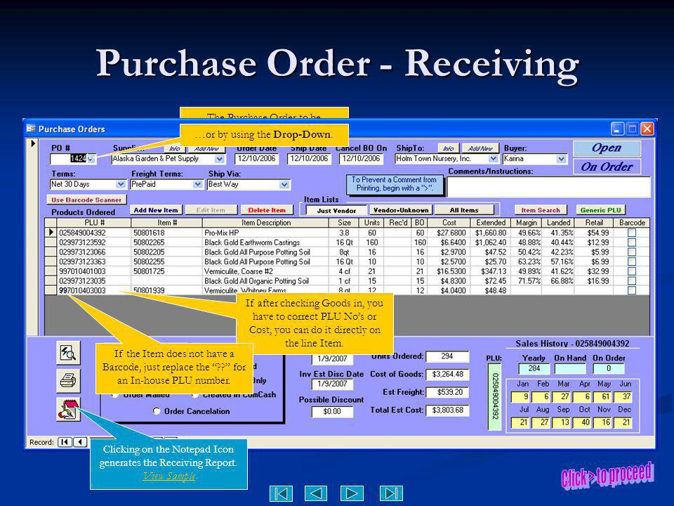 Purchase Order - Receiving