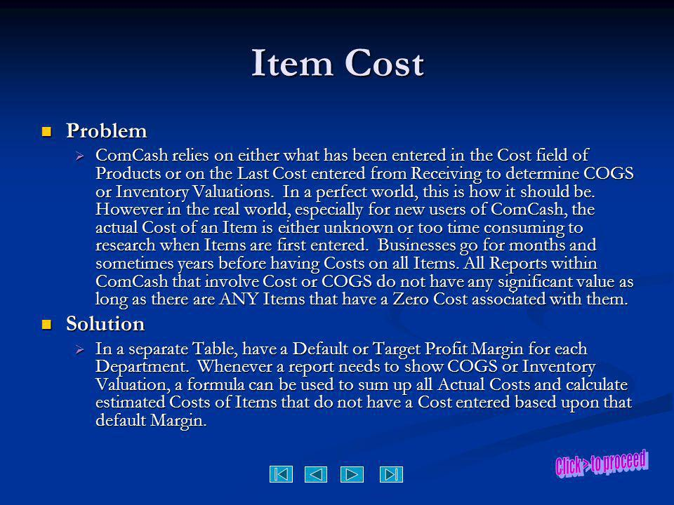 Item Cost Problem Solution