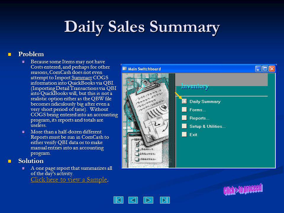Daily Sales Summary Problem Solution