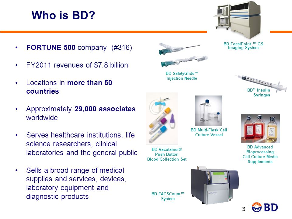 Who is BD FORTUNE 500 company (#316) FY2011 revenues of $7.8 billion