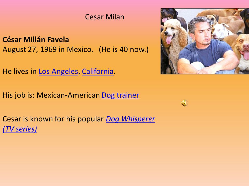 Cesar Milan César Millán Favela August 27, 1969 in Mexico. (He is 40 now.) He lives in Los Angeles, California.
