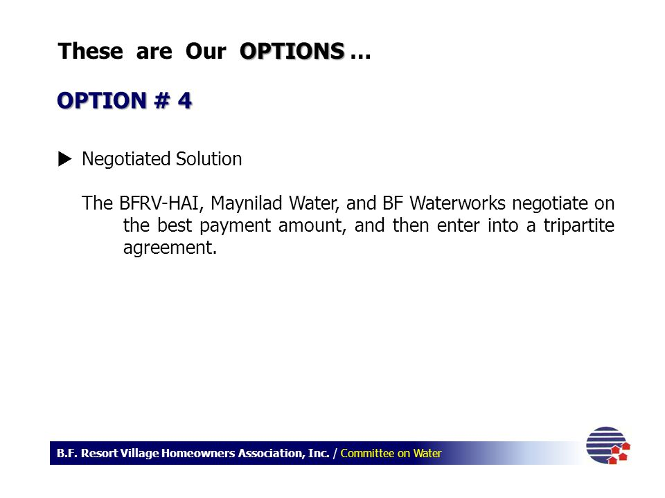 These are Our OPTIONS … OPTION # 4 Negotiated Solution