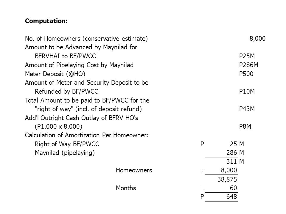 Computation: No. of Homeowners (conservative estimate) 8,000. Amount to be Advanced by Maynilad for.